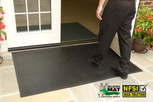 walking over scraper mat